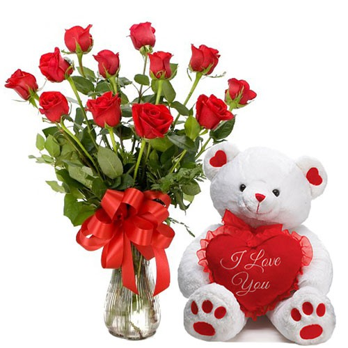 15 Red Roses In Glass Vase With Cute Teddy J K Florist