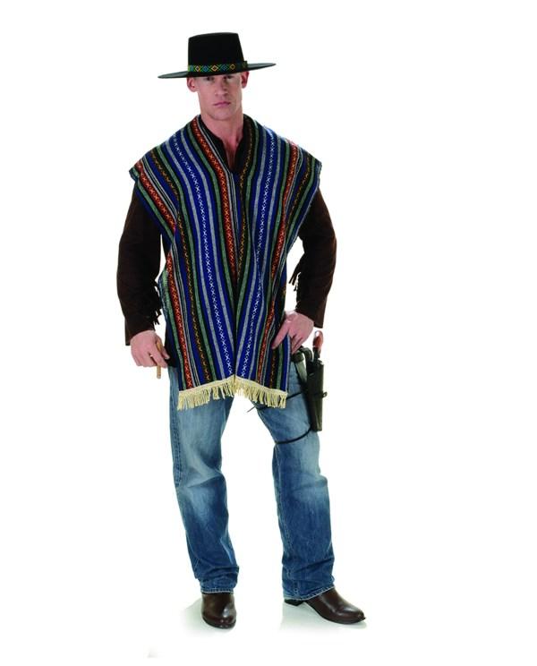 Adult Men' Bandito Costume Multi Color Mexican Poncho