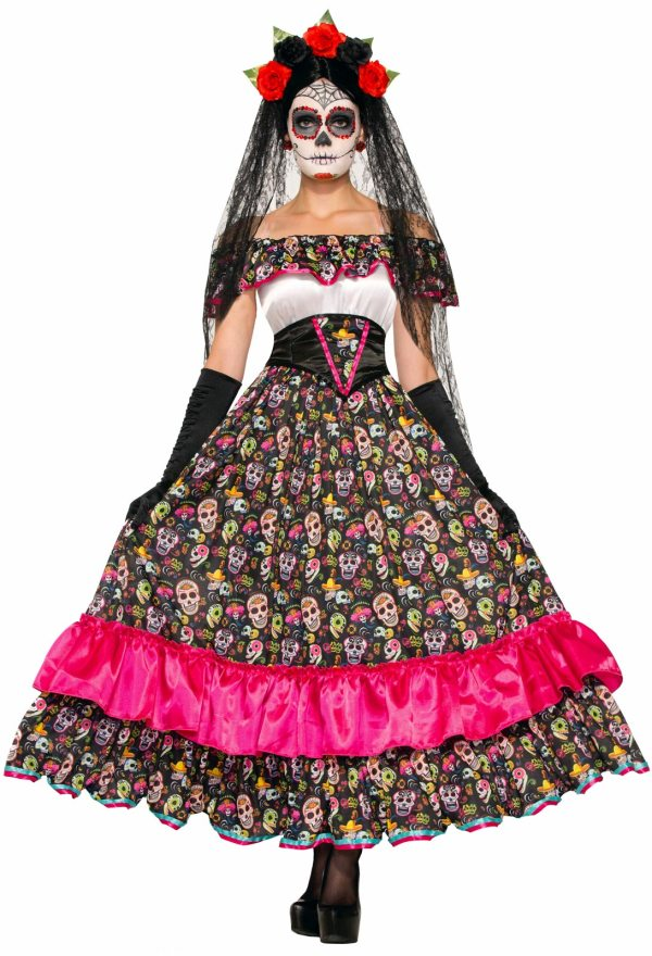 Day Of Dead Sugar Skull Spanish Lady Mexican Senorita Women' Costume Dress
