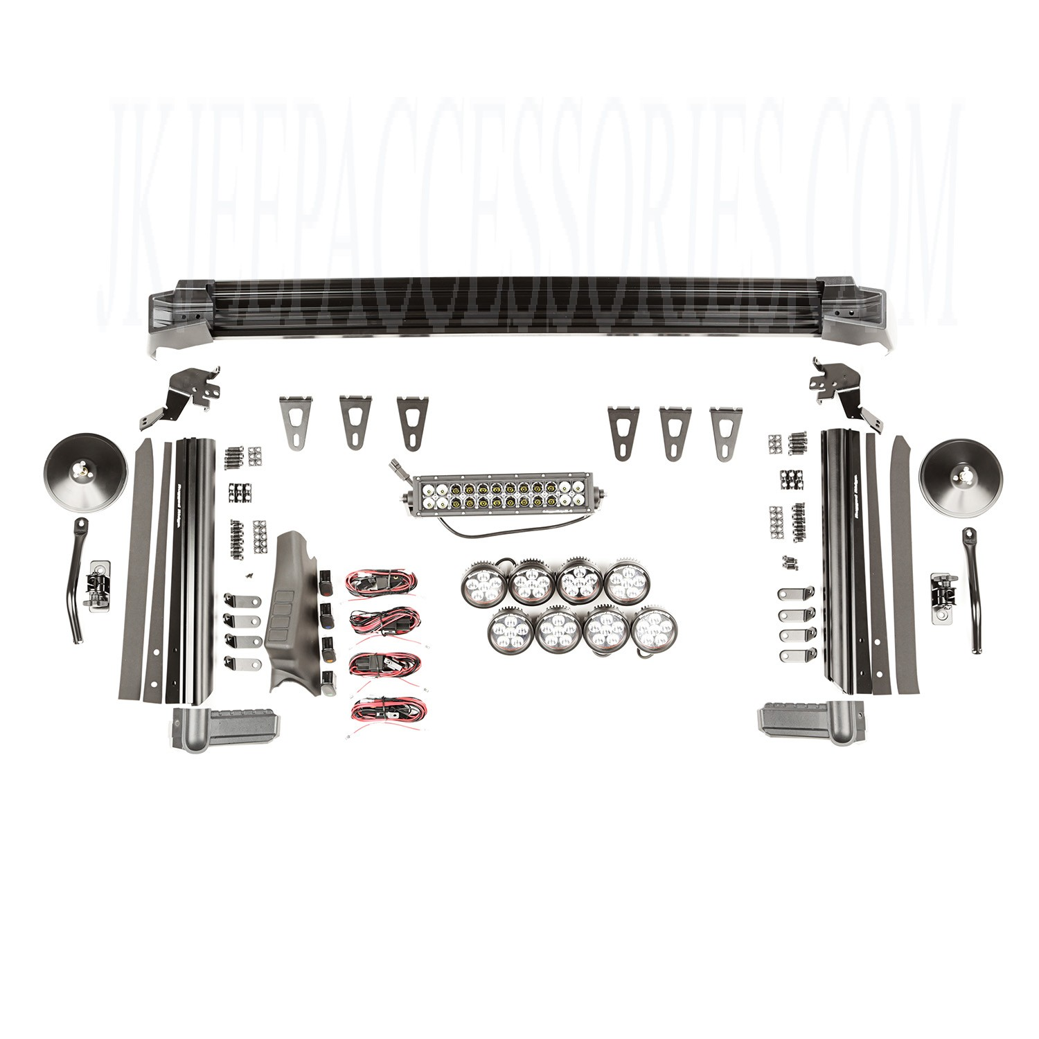 Fasttrack Kit 1 Bar 8 Rounds Mirrors 07 17 Jeep