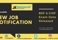 BSF Exam Date 2020 Jammu and Kashmir Written Exam Date Sheet Released