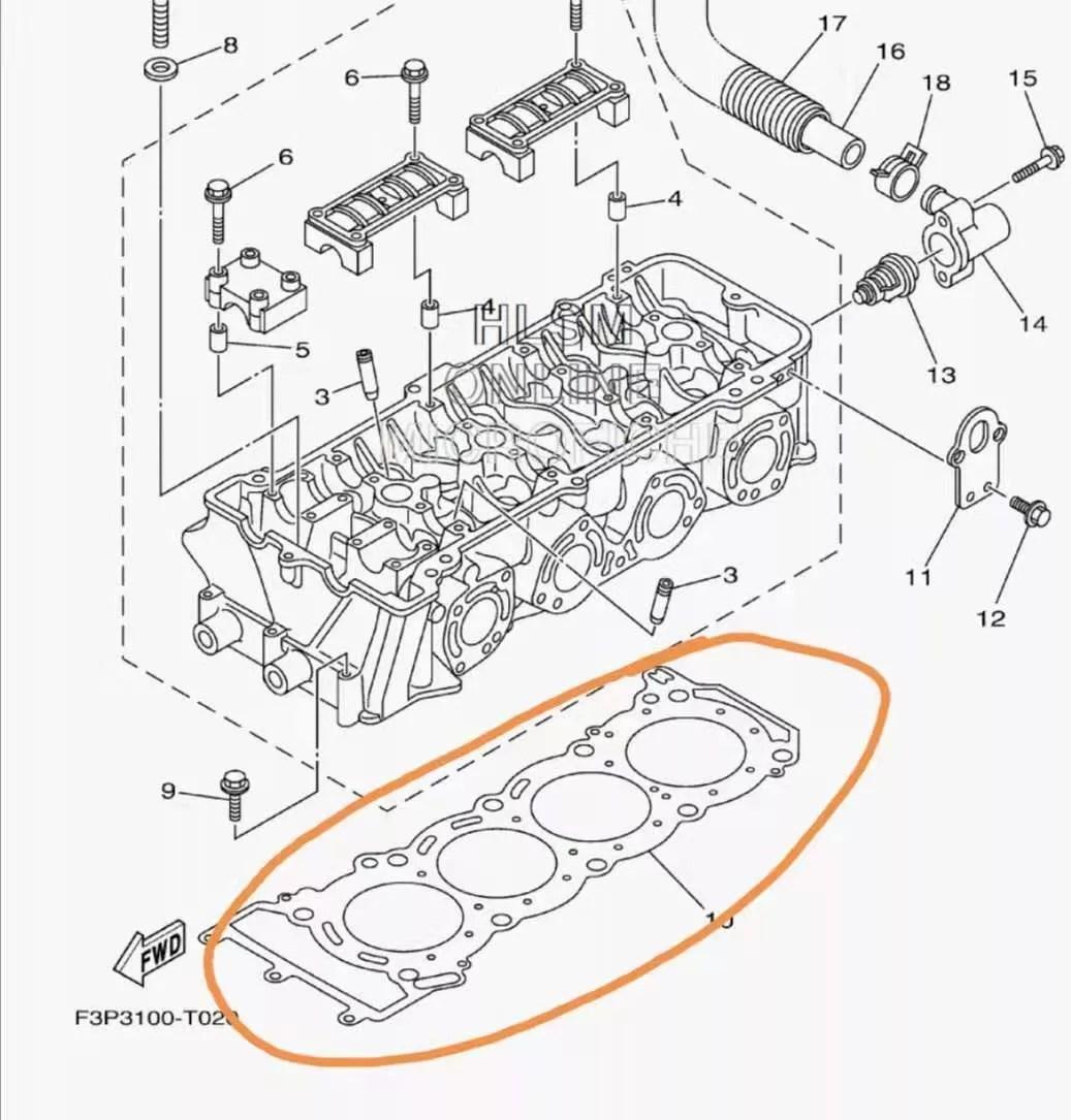 Yamaha 1800 Testa Guarnizione 007-593-11 6BH-11181-00-00