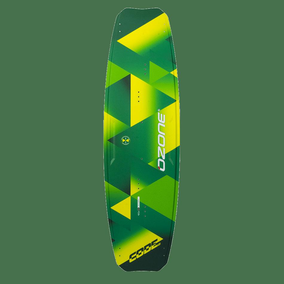Twintip Code V2 (top) vert et jaune d'Ozone Kites vendu par Jks-kitesurf