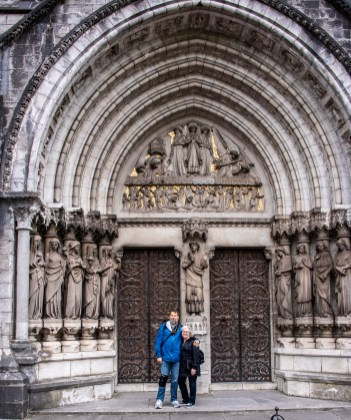 Two fun people in front of the cathedral
