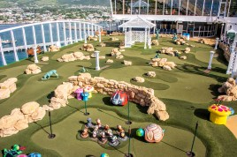 Also on the upper deck, a complete (and large) miniature golf course