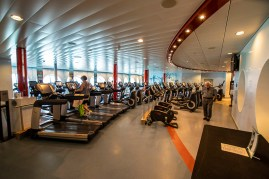 Inside the gym. First one I have seen on a ship that did not have big windows facing forward.