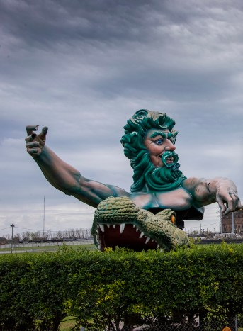 This guy is just outside Mardi Gras World where they build and exhibit the floats for the parades. If you are in New Orleans when it is NOT Mardi Gras, you can still see floats here.