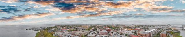 Aerial panoramic sunset view of Charleston, South Carolina