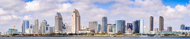 Panoramic view of the downtown San Diego skyline, California