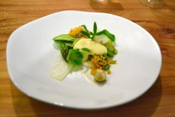 Gargouillou young vegetables. bagna cauda anchovies, garlic, olive oil mousse. carotene bread crumbs.