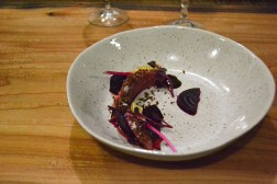 Pleasant View Duck Breast pickled and roasted beet. Valrhona chocolate. fried duck skins.