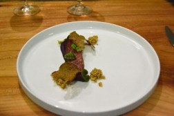 Pastramied Cabbage Puree. pickled mustard. red ribbon sorrel. shaved pumpernickel
