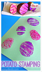 Easter egg potato stamping activity from sassydealz.com