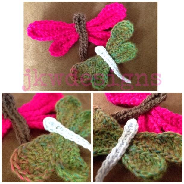 crochet dragonfly applique