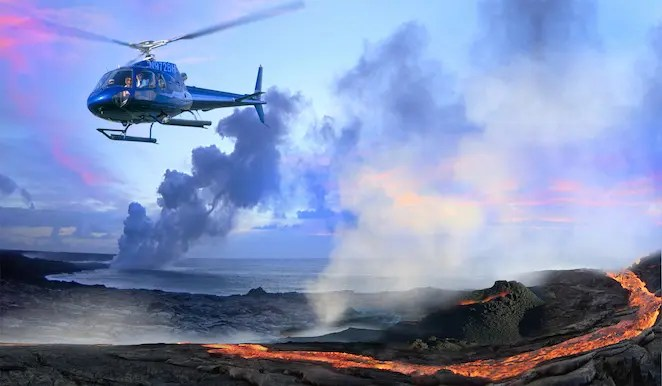 Hawaii and volcanoes by air