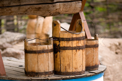 Old wooden buckets