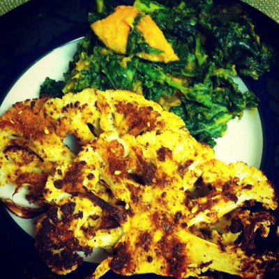 Piri Piri Cauliflower Steak + Kale and Kabocha Squash Salad with Cinnamon and Nutmeg