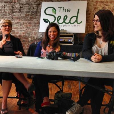 JL, Gena and Kristin talking vegan businesses