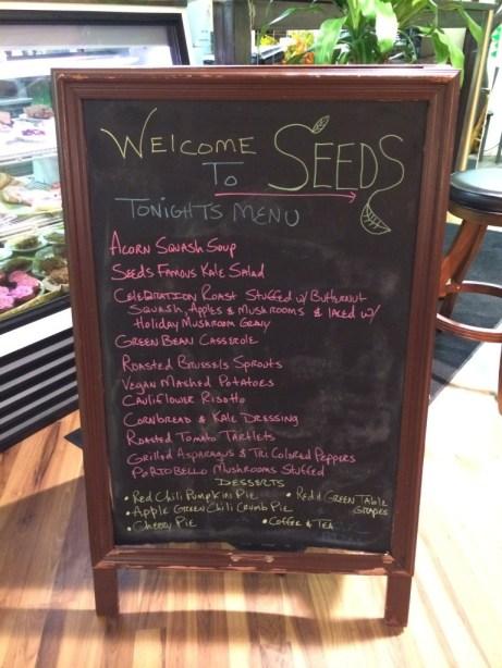 Seeds Community Cafe | Vegan Thanksgiving Dinner Menu