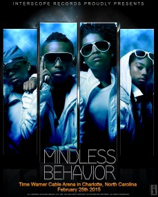A print advertisement established in Photoshop and made to promote the concert of pop boy band Mindless Behavior.