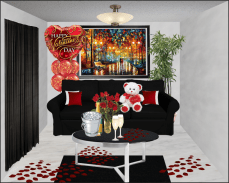 A room design with a Valentine's Day Theme; established through Photoshop.