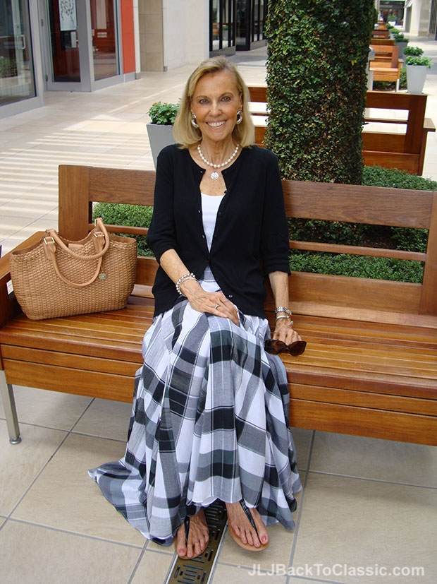 Classic Fashion Over 60 Ageless BeautyIn a Plaid Maxi