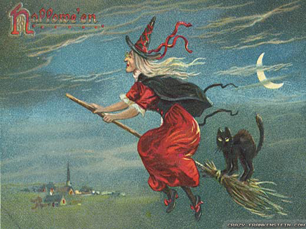 Free Fall Puppy Wallpaper Download Vintage Halloween Witch Wallpapers High