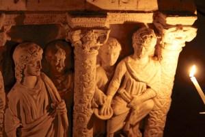 Een van de details in de Romeinse katacomben