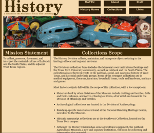 Museum of Texas Tech University, History Division, Scope of Collections