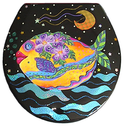 Lemon Drop Fish Toilet Seat Elongated Free Shipping