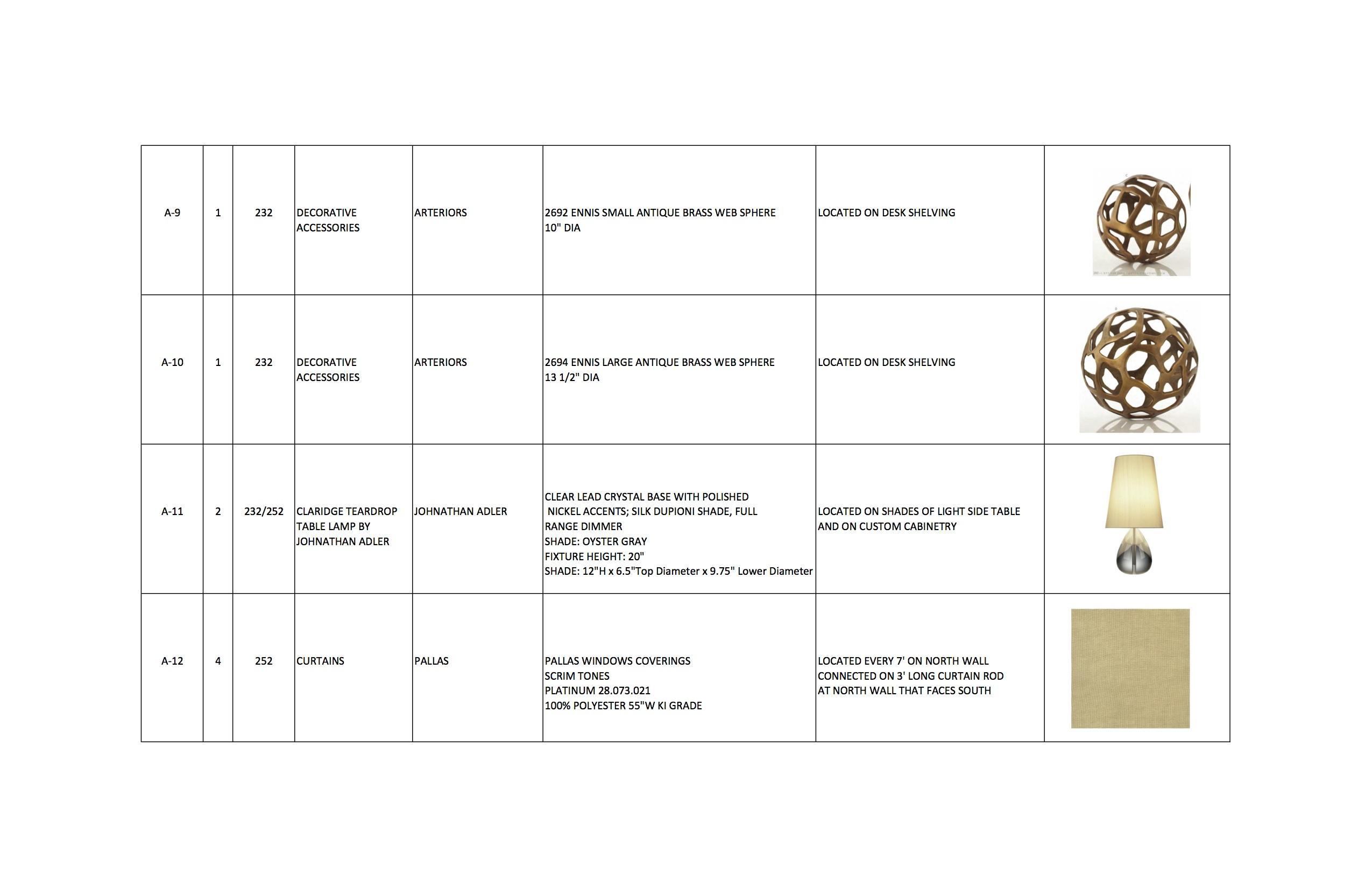 Furniture Schedule J WOOD