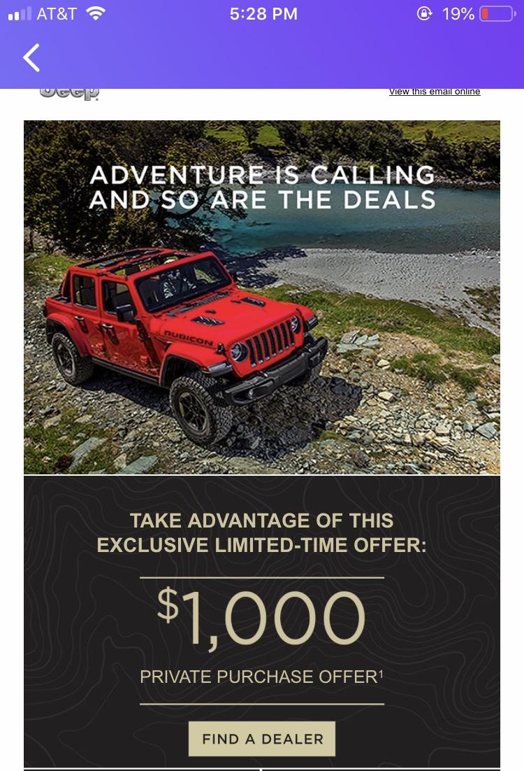 Jeep Dealership Golden : dealership, golden, 10,000, Rebate, 2018's, 2018+, Wrangler, Forums, Rubicon,, Sahara,, Sport,, Unlimited, JLwranglerforums.com