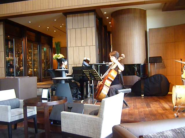 There always seemed to be tasteful music in the lounge adjacent to the main lobby. Here two very good musicians are playing Bach's 'Jesu Joy of Man's Desiring'. On other occasions I heard a very tasteful cocktail pianist and an excellent jazz trio.