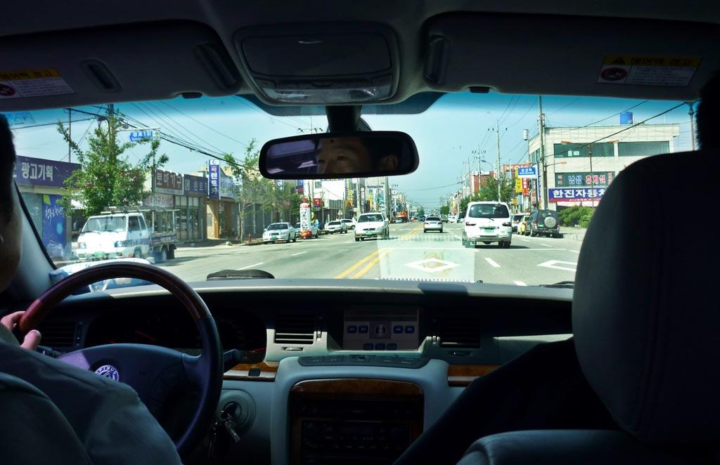Driving down Nonsan's main street.