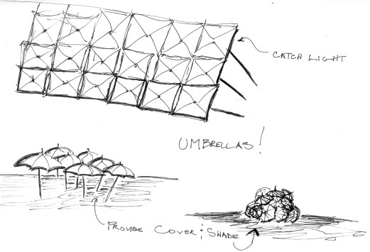 playing out the idea, thinking about how this component can become a system that can function as a shelter