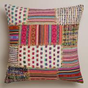 World Market- Multicolor Patchwork Whipstitch Throw Pillow