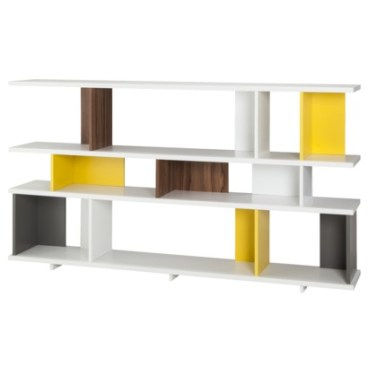 TOO by Blu Dot Stories Bookcase - White/Yellow/Walnut/Gray