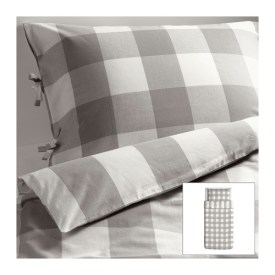 EMMIE RUTA Duvet cover and pillowcase(s), gray, white, Regular price $29.99, IKEA FAMILY member price $19.99