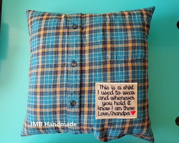 to sew a memory pillow out of shirts