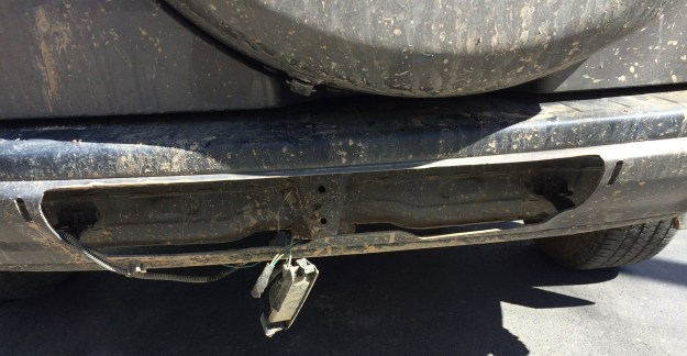 Lost license plate hole