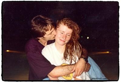 Jeannie receiving a kiss from Loren.