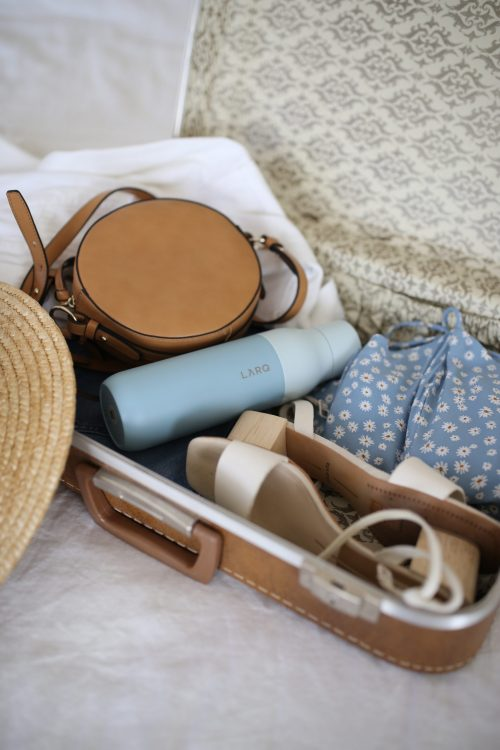 Image is of a packed suitcase