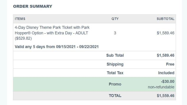 order summary of purchase for disney tickets