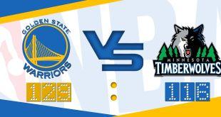 Stephen Curry三分13射8中,攻入46分,帶領勇士輕取木狼13分。