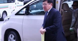 原審時被裁定罪名不成立的新地主席郭炳聯,今早亦到庭旁聽。(梁芷維 攝)
