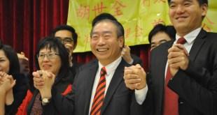 胡世全宣布參選行政長官。(林殷瑩攝)