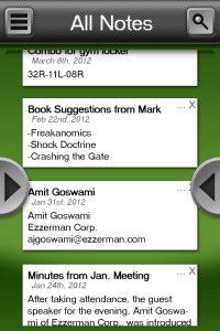 Evernote UI Main Screen