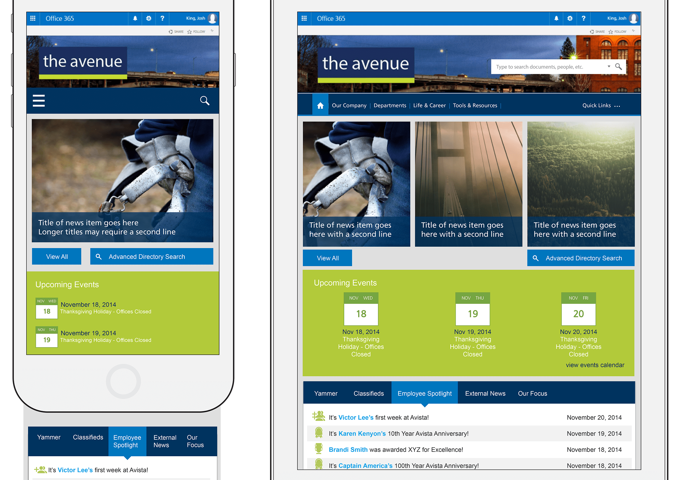 Avista Homepage (mobile, tablet)