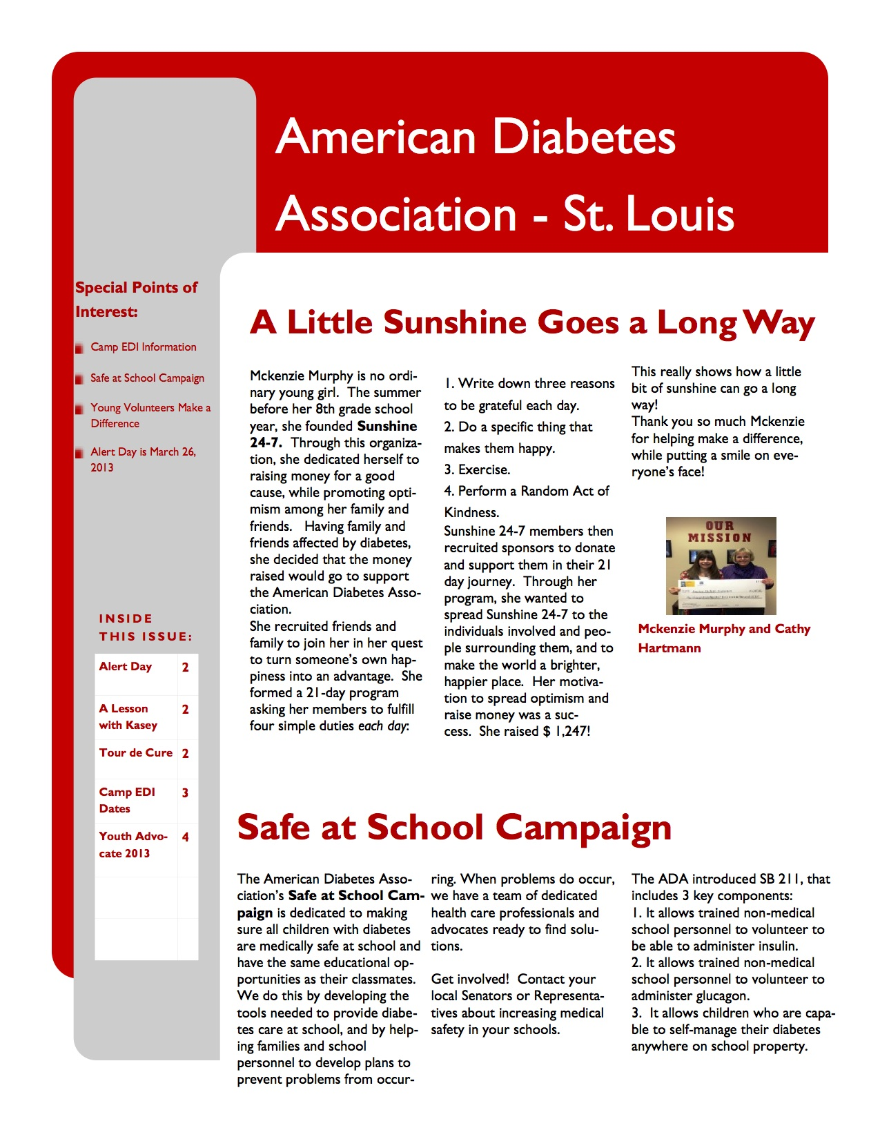 American Diabetes Association Newsletter for Youth  Hire Jenn
