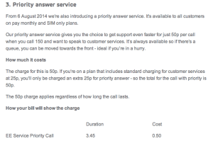 EE Priority Answer Service